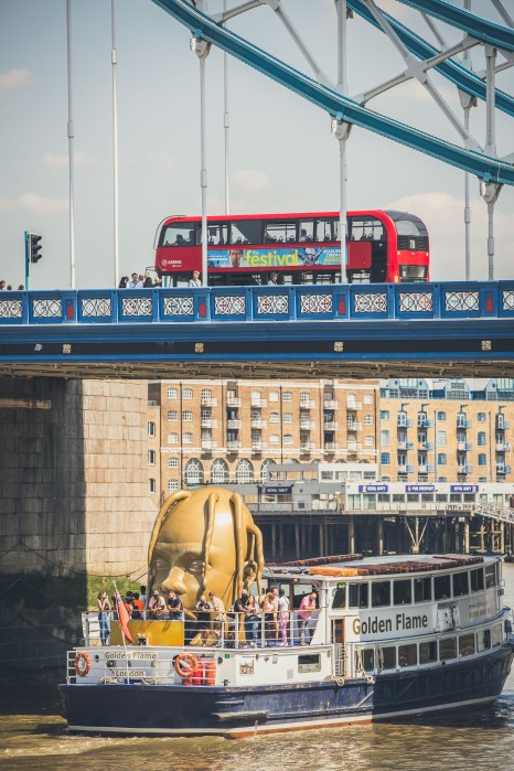 Travis Scott's famous gold head + the Astroworld Party boat on the River Thames