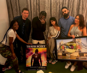 Travis Scott + Team with his Astroworld + Sicko Mode Plaques